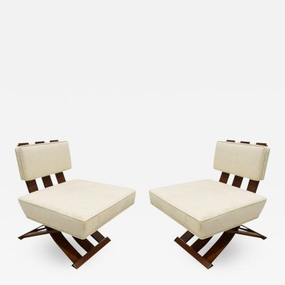 Harvey Probber Harvey Probber Elegant Pair Of Campaign Style Lounge Chairs 1950s