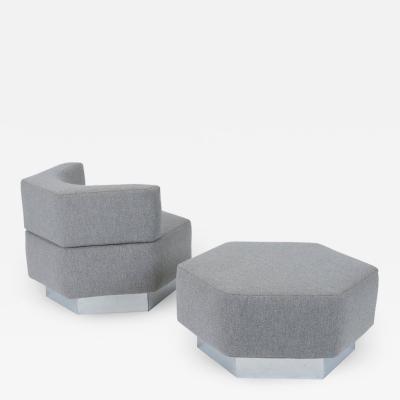 Harvey Probber Harvey Probber Geometric Lounge Chair with Ottoman