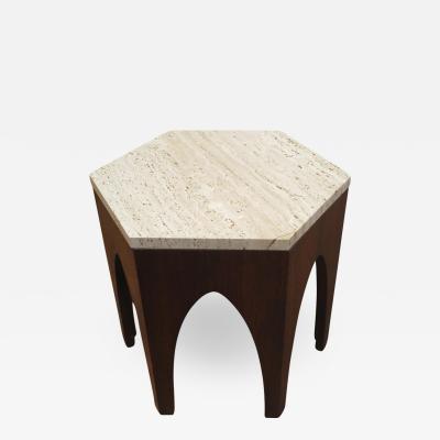 Harvey Probber Harvey Probber Hexagon Travertine Side Table