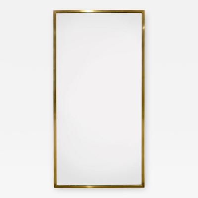 Harvey Probber Harvey Probber Large Rectangular Mirror with Brass Frame 1950s