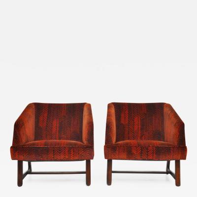 Harvey Probber Harvey Probber Lounge Chairs in Jack Lenor Larsen Velvet