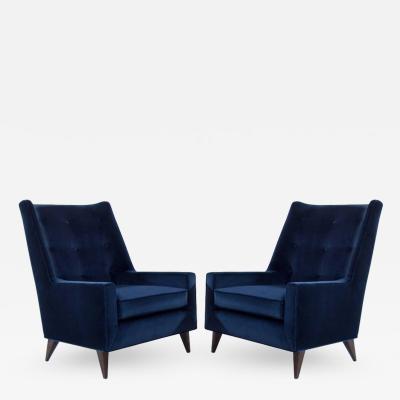 Harvey Probber Harvey Probber Lounge Chairs in Navy Velvet