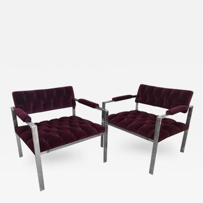 Harvey Probber Harvey Probber Pr Mid Century Modern Chrome Velvet Tufted Arm or Lounge Chairs