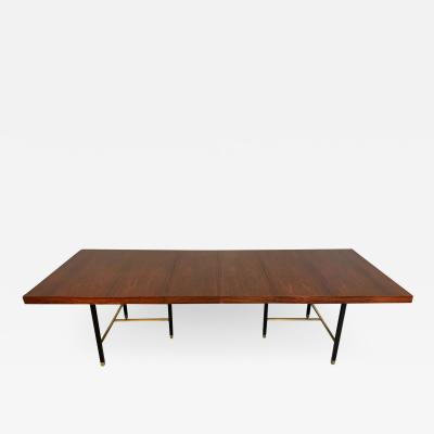 Harvey Probber Harvey Probber Rosewood and Mahogany Dining Table with Brass Accents