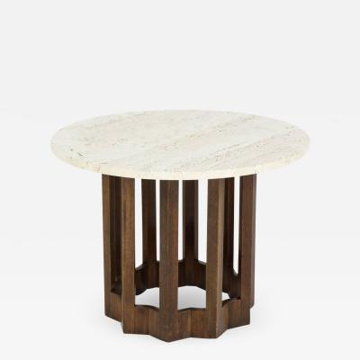 Harvey Probber Harvey Probber Round Travertine and Walnut Side Table Usa 1960s
