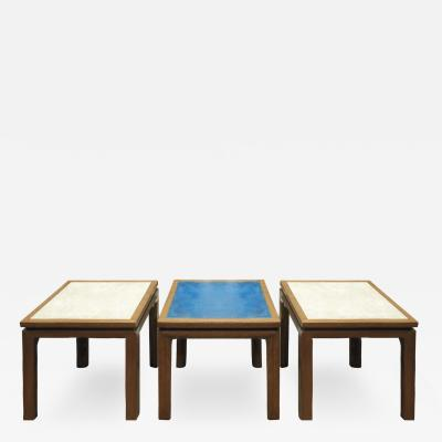 Harvey Probber Harvey Probber Set of 3 Coffee Tables with Artisan Enamel on Copper Tops 1950s