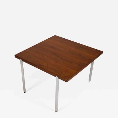 Harvey Probber Harvey Probber Side Table in Teak and Polished Stainless Steel 1960s