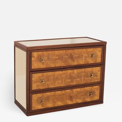 Harvey Probber Harvey Probber Style Drawer Cabinet In Bamboo And Mirrored Glass 1970s