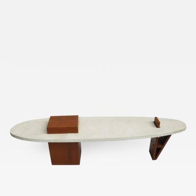 Harvey Probber Harvey Probber Style Surfboard Terrazzo and Walnut Coffee Table