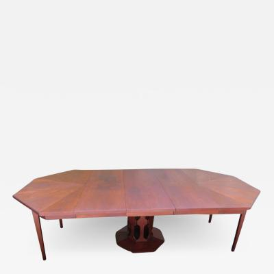 Harvey Probber Harvey Probber Style Walnut Octagon Extension Table 3 Leaves Mid Century Modern