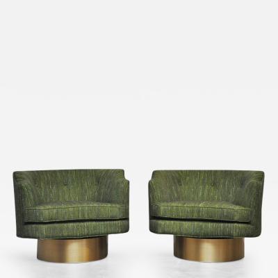 Harvey Probber Harvey Probber Swivel Chairs on Brushed Brass Bases