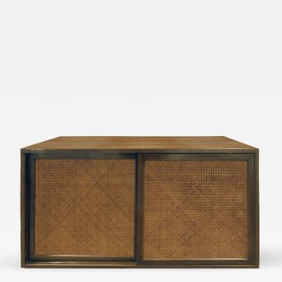 Harvey Probber Harvey Probber Wall Mounted Cabinet with Inset Caned Doors 1950s