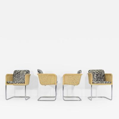 Harvey Probber Harvey Probber Wicker Dining Chairs with Zebra Hide Cushions