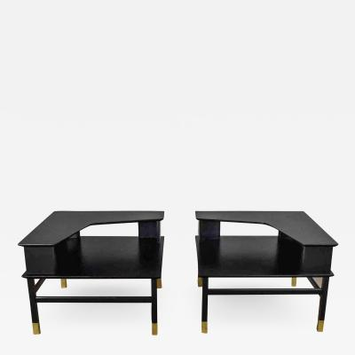 Harvey Probber MCM corner step tables a pair black with brass sabots style of harvey probber