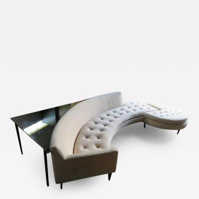 Harvey Probber Magnificent Harvey Probber Nuclear Sert Curved Sofa Ottoman Table Midcentury