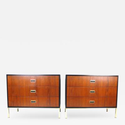 Harvey Probber Matching Pair of Three Drawer Chests by Harvey Probber