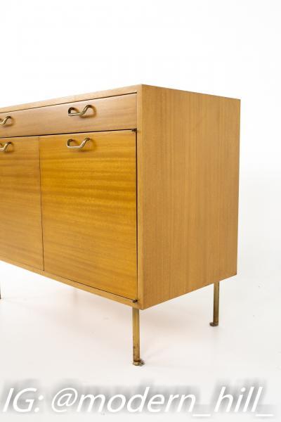 Harvey Probber Mid Century Mahogany and Brass Compact Credenza
