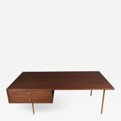 Harvey Probber Mid Century Modern 2 Drawer Cocktail Table in Walnut and Brass by Harvey Probber