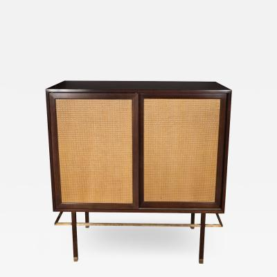 Harvey Probber Mid Century Modern Brass Walnut Cane Cabinet by Harvey Probber