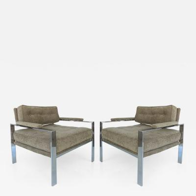 Harvey Probber Mid Century Modern Chrome Club Chairs in the Style of Harvey Probber Pair