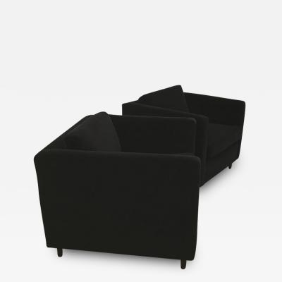 Harvey Probber Mid Century Modern Harvey Probber Style Pair of Black Velvet Tuxedo Club Chairs