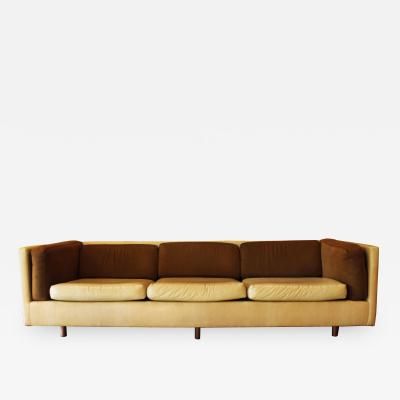 Harvey Probber Mid Century Modern Harvey Probber Suede Leather Brown Beige Sofa