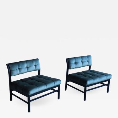 Harvey Probber Midcentury Velvet Slipper Chairs by Harvey Probber