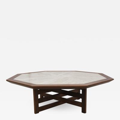 Harvey Probber Octagonal Walnut and Travertine Coffee Table by Harvey Probber