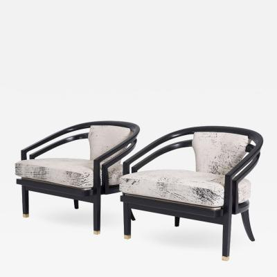 Harvey Probber Open Frame Lounge Chairs Attributed to Harvey Probber Pair