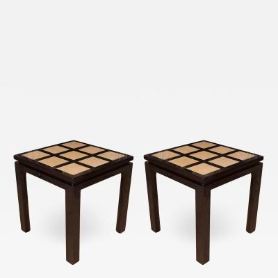 Harvey Probber PAIR OF SQUARE LACQUERED WOOD SQUARE SIDE TABLES WITH TERRAZZO INLAID TOP