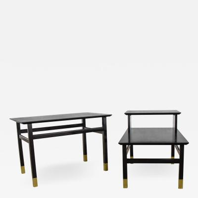 Harvey Probber Pair MCM side tables black with brass sabots style of harvey probber