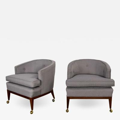 Harvey Probber Pair mcm grey taupe barrel back club chairs on casters style of harvey probber