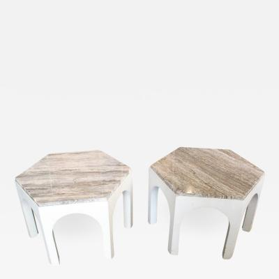 Harvey Probber Pair of 1960s Travertine Top Side Tables in the Style of Harvey Probber