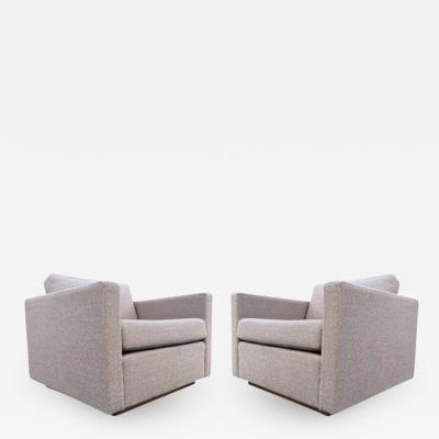 Harvey Probber Pair of Harvey Probber Cube Lounge Chairs on Walnut Plinth Bases