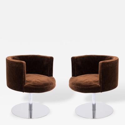 Harvey Probber Pair of Harvey Probber Fraschini Swivel Chairs in Stainless Steel