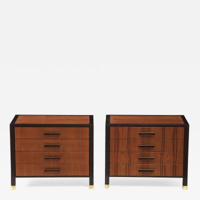 Harvey Probber Pair Of Nightstands End Cabinets In Walnut Ebonized Mahogany