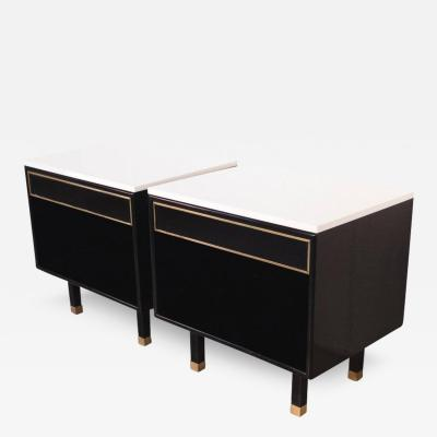 Harvey Probber Pair of Harvey Probber Nightstands with Polished Marble Tops