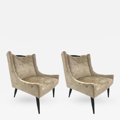 Harvey Probber Pair of Harvey Probber Slipper Chairs in Velvet