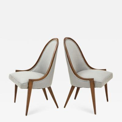 Harvey Probber Pair of Midcentury Harvey Prober Upholstered Slipper Chairs