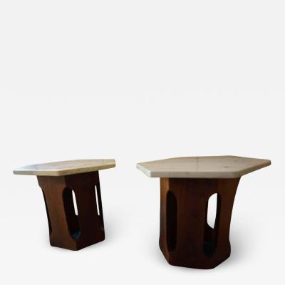 Harvey Probber Petite Harvey Probber Mahogany Faux Marble End Side Tables Mid Century Modern