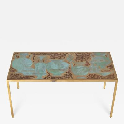 Harvey Probber Rare Harvey Probber acid etched and patinated bronze sofa table circa 1960s