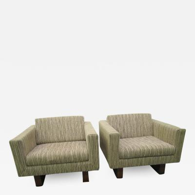 Harvey Probber Rare Pair of Signed Harvey Probber Cube Lounge Chairs Mid Century Modern