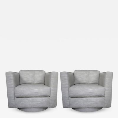 Harvey Probber Set of Two Grey Upholstered Tuxedo Swivel Chairs by Harvey Probber