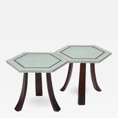 Harvey Probber Terrazzo Hexagonal Tables by Harvey Probber