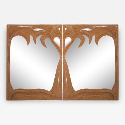 Harvey Probber Vivai del Sud pair of Bamboo Palmtree Mirrors 1970s