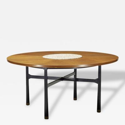 Harvey Probber Walnut Center Table with Stone Insert by Harvey Probber