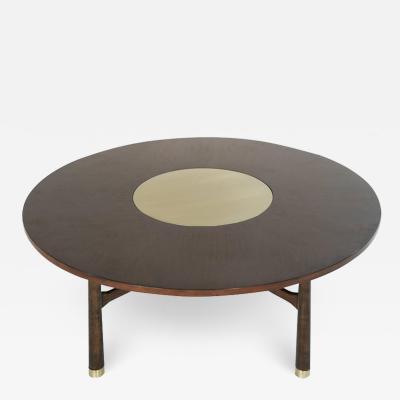 Harvey Probber Walnut Coffee Table with Brass Insert by Harvey Probber 1950s