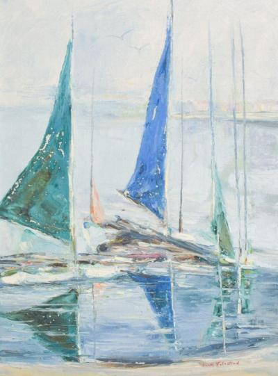 Hazel Rakestraw Hazel Rakestraw Art Oil on Canvas Sail Boats California Modern