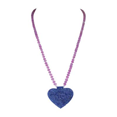Heart Shaped Sapphire Carving Necklace with Pink Sapphire Carved Beads 14 Karat