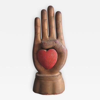 Heart in Hand Carving from an Odd Fellows Fraternal Lodge